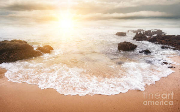 Foaming Wall Art - Photograph - Glorious Sunrise Scene At The Ocean by Smileus