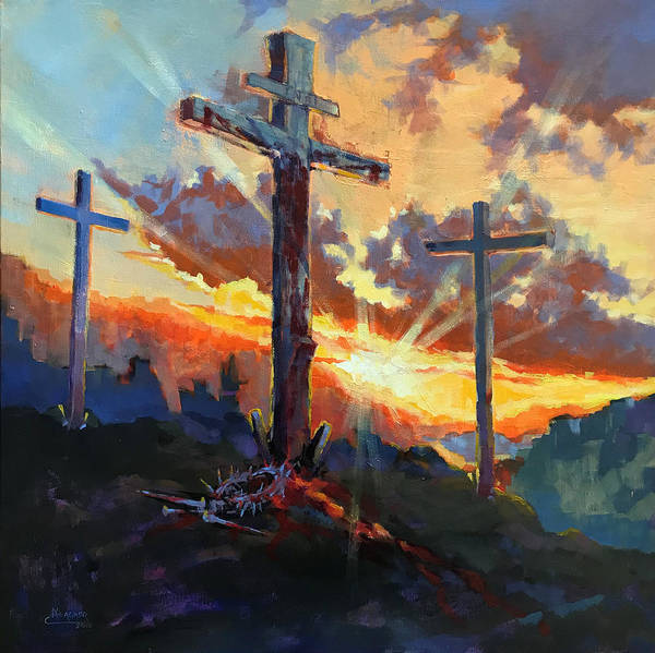 Golgotha Painting - Glory Of Christ by Spencer Meagher