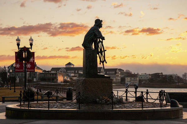 Photograph - Gloucester Fisherman Memorial Sunrise by Joann Vitali