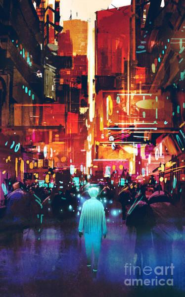 Wall Art - Digital Art - Glowing Blue Man Walking In Futuristic by Tithi Luadthong