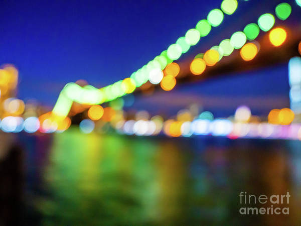 Photograph - Glowing Brooklyn Bridge Lights by Alissa Beth Photography