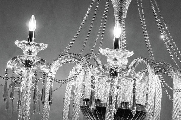 Photograph - Glowing Crystal Chandelier by SR Green