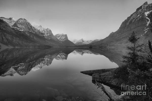Photograph - Glowing Mountain Peaks Of St Mary Glacier 2019 Black And White by Adam Jewell