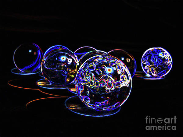 Groovy Mixed Media - Glowing Orbs #2 by NAJE Foto - Nelly Rodriguez