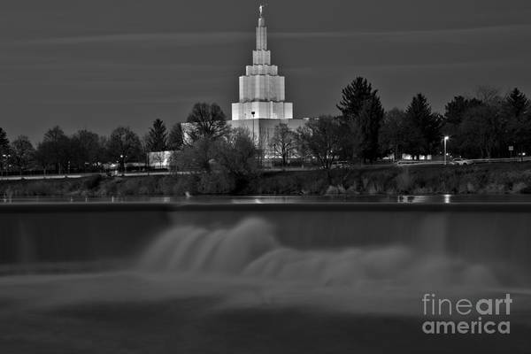 Photograph - Glowing Over Idaho Falls Black And White by Adam Jewell