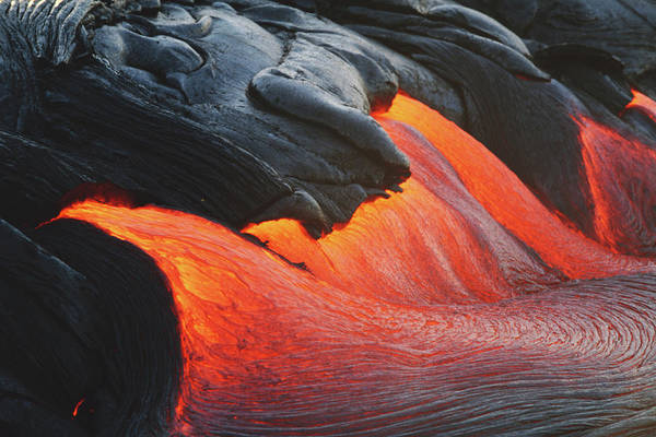 Hawaii Islands Photograph - Glowing Streams Of Lava Pouring During by Paul Souders