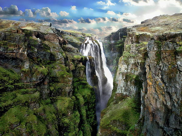 Photograph - Glymur Waterfall by Anthony Dezenzio