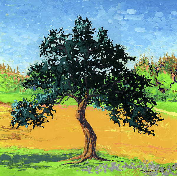 Fluid Acrylic Painting - Gnarly Apple Tree, Vermont by Catherine Twomey
