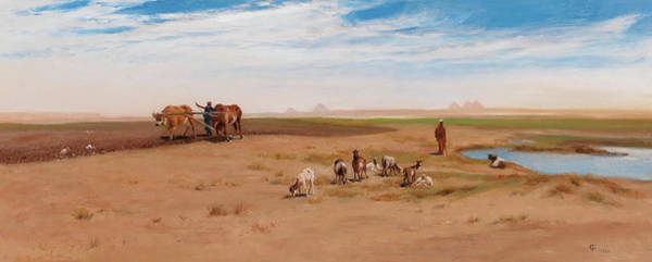 Wall Art - Painting - Goat Herd And Laborer Near The Pyramids At Giza by Frederick Goodall
