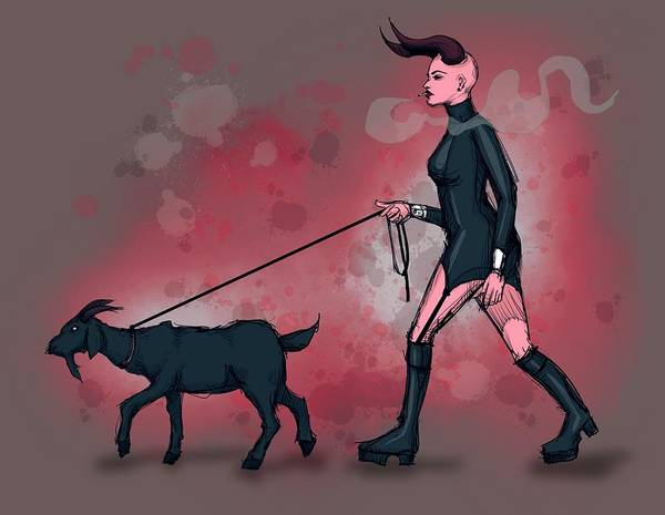 Satan Drawing - Goat Walk by Ludwig Van Bacon
