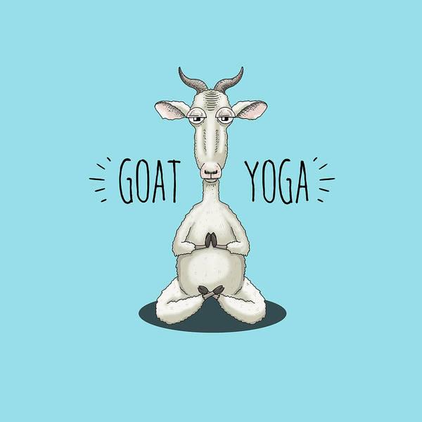 Hippy Digital Art - Goat Yoga - Meditating Goat by Laura Ostrowski