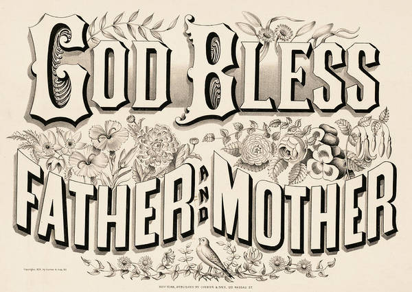 Wall Art - Painting - God Bless Father And Mother, 1876 by American School