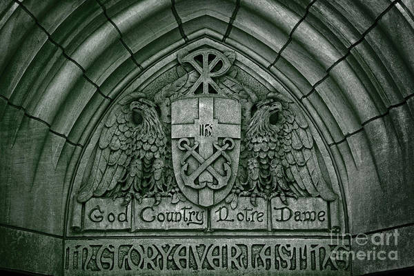 Wall Art - Photograph - God Country Notre Dame Detail On Basilica Memorial Door Header by John Stephens