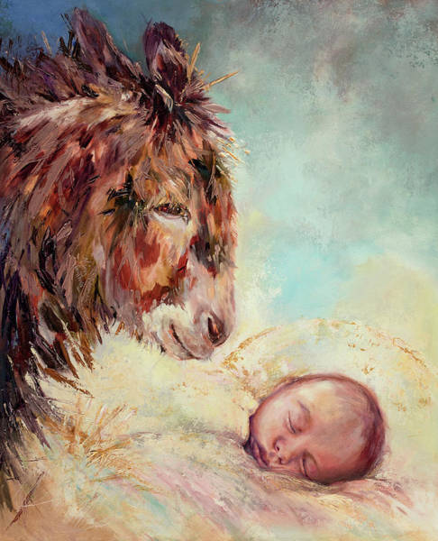 Wall Art - Painting - God Has Favored, Donkey And Baby Jesus Oil Painting by Kim Guthrie