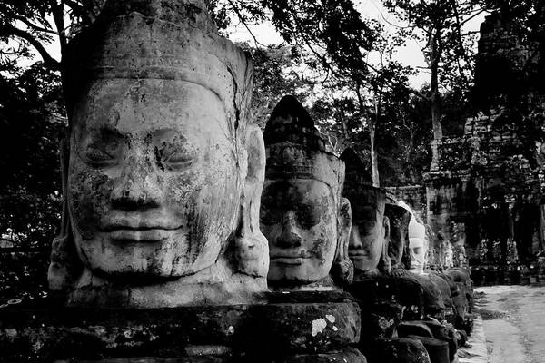 Spirituality Photograph - God Heads At South Gate Of Angkor Thom by Cedric Favero