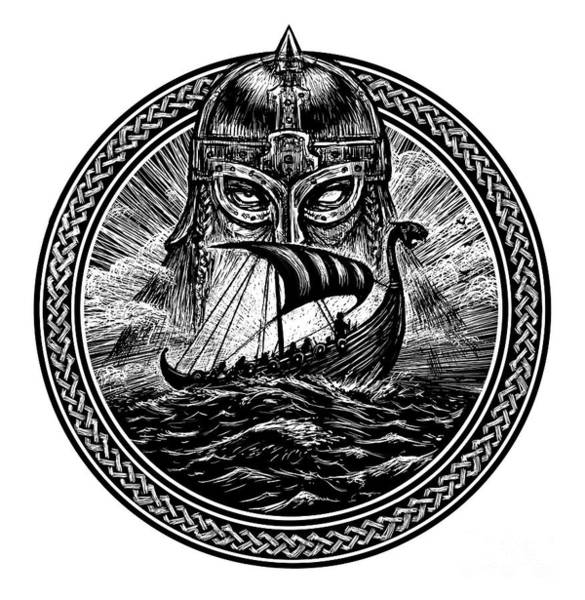 God Odin Storm Sea And Drakkar Art Print