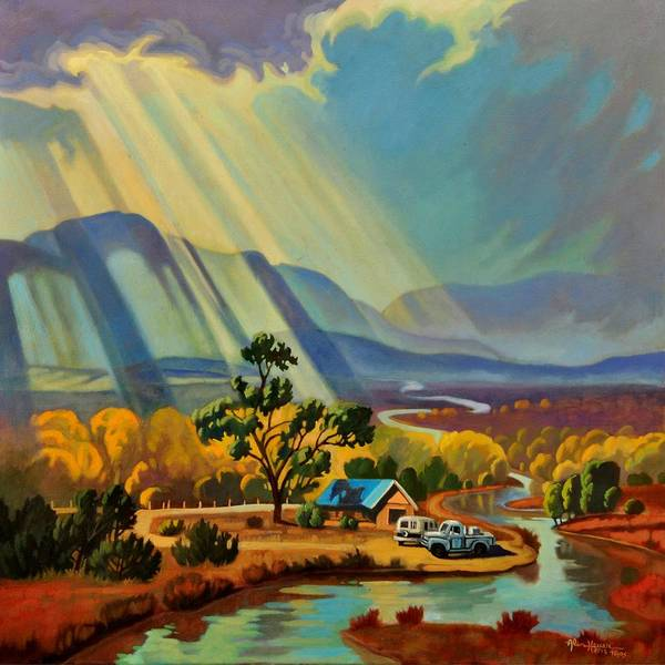 Enchantment Painting - God Rays On A Blue Roof by Art West