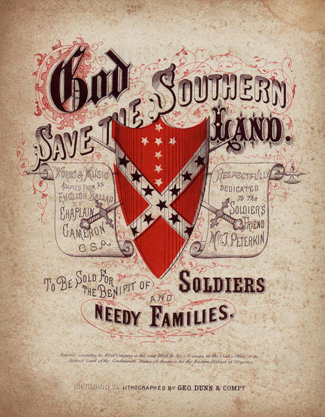 Southern Pride Wall Art - Photograph - God Save The Southern Land Sheet Music Cover 1864 by Daniel Hagerman