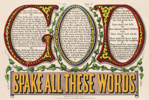 Wall Art - Painting - God Spake All These Words, 1876 by American School