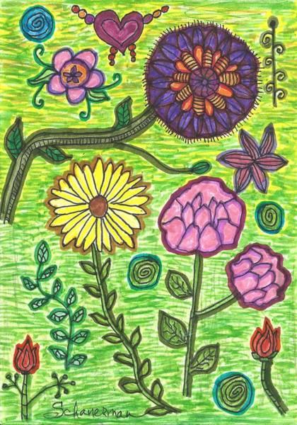 Drawing - God Speaks To Us As Flowers by Susan Schanerman