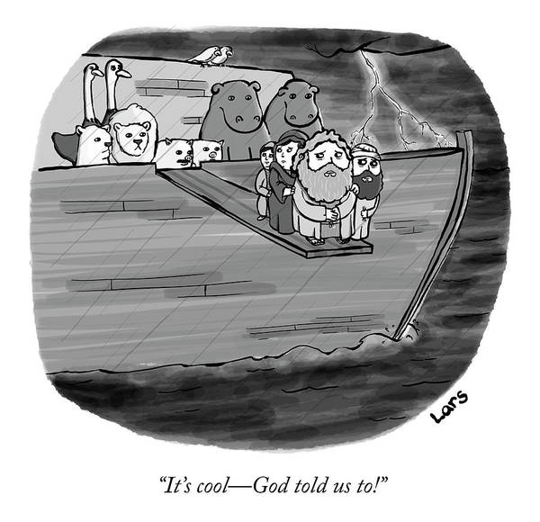 Flood Drawing - God Told Us To by Lars Kenseth