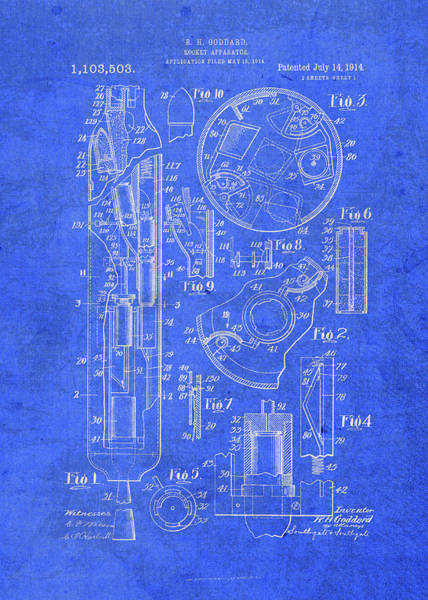 Patent Mixed Media - Goddard Rocket Vintage Patent Blueprint by Design Turnpike