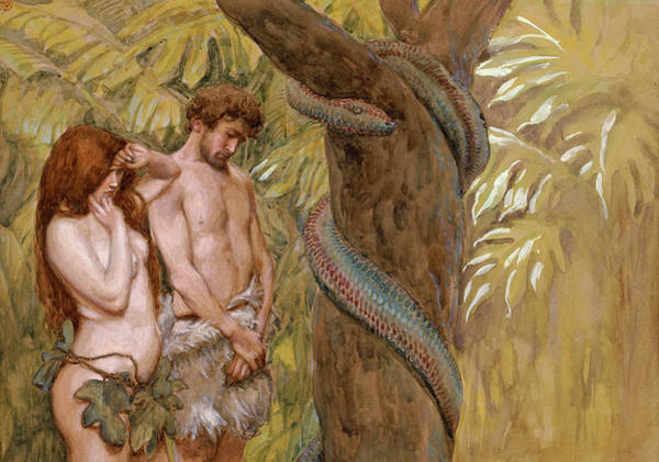The Creation Of Adam Wall Art - Painting - Gods Curse, Adam And Eve by James Tissot