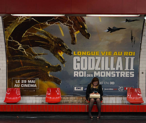 Wall Art - Photograph - Godzilla Paris Metro by Andrew Fare