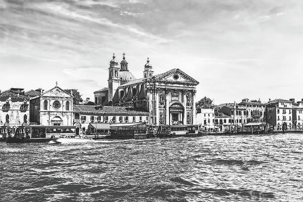 Photograph - Going Down The Grand Canal Of Venice In Black And White by Kay Brewer