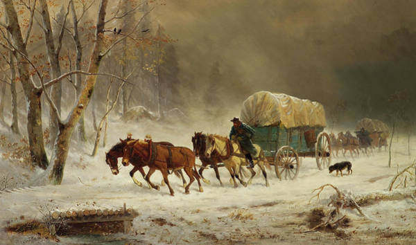 Wall Art - Painting - Going Home - Pioneers Braving A Storm by William Hahn