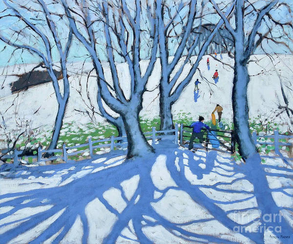 Wall Art - Painting - Going Sledging, Dam Lane, Ashbourne, Derbyshire, by Andrew Macara