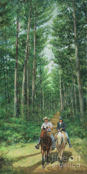 Wall Art - Painting - Riding Thru The Pines by Don Langeneckert