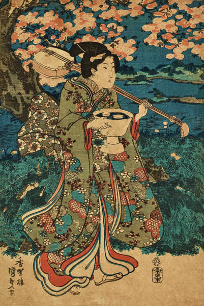 Wall Art - Painting - Going To A Cherry Blossom Viewing Party by Utagawa Kunisada