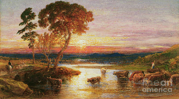 Wall Art - Painting - Going To The Fold, Sunset, 1879 by Samuel Palmer