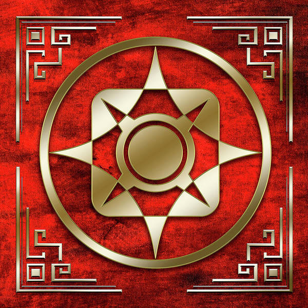 Digital Art - Gold 2 On Crimson by Chuck Staley