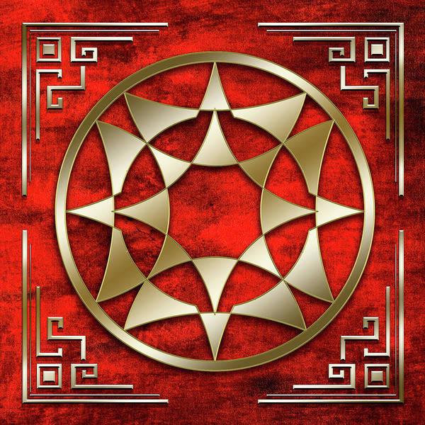 Digital Art - Gold 5 On Crimson by Chuck Staley