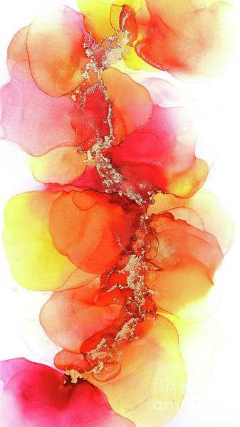 Painting - Gold And Red Petals Abstract Painting by Alissa Beth Photography