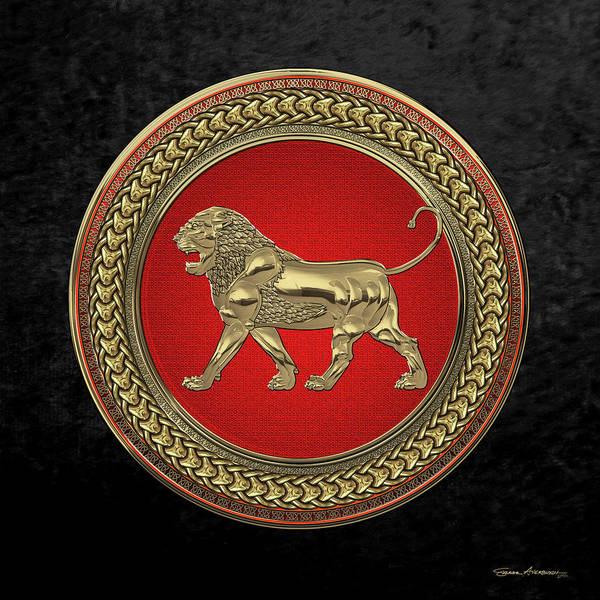 Digital Art - Gold Assyrian Lion On Red And Gold Medallion Over Black Velvet by Serge Averbukh