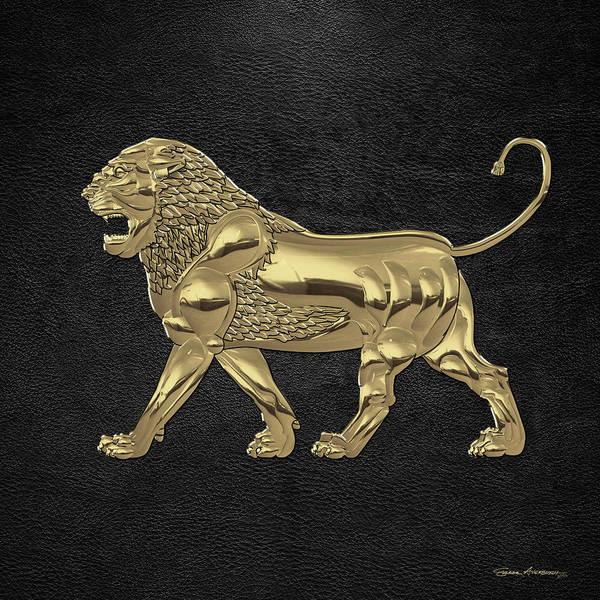 Digital Art - Gold Assyrian Lion Over Black Leather by Serge Averbukh