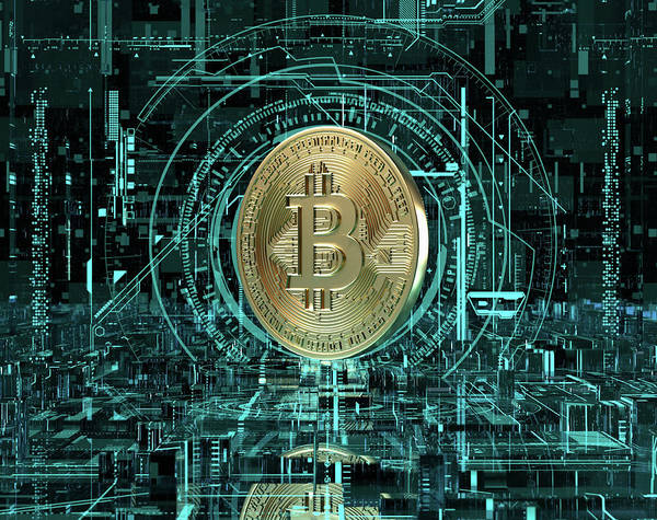 Wall Art - Photograph - Gold Bitcoin At The Center Of Complex by Ikon Images