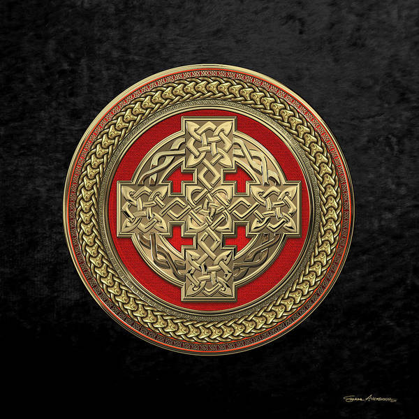 Digital Art - Gold Celtic Knot Cross Over Red With Gold Medallion Over Black Velvet by Serge Averbukh