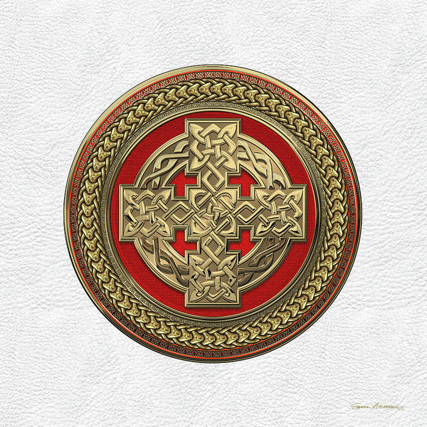 Digital Art - Gold Celtic Knot Cross Over Red With Gold Medallion Over White Leather by Serge Averbukh