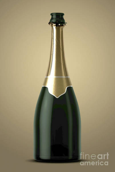 Wall Art - Digital Art - Gold Champagne Bottle Open Neck by Allan Swart