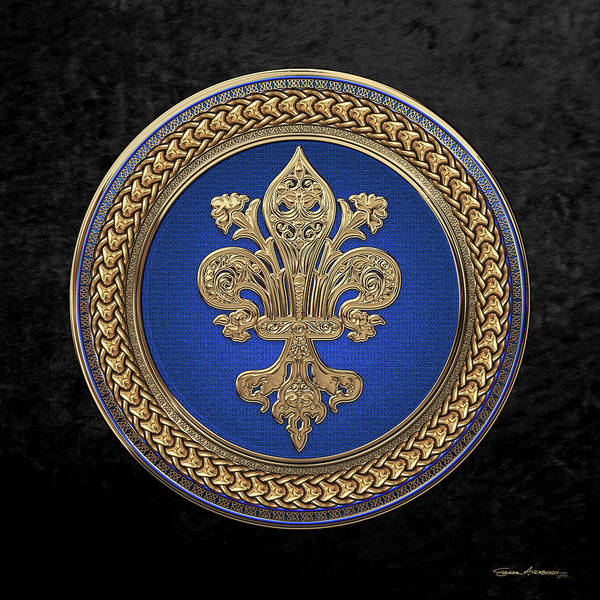 Digital Art - Gold Filigree Fleur-de-lis On Gold And Blue Medallion Over Black Velvet by Serge Averbukh