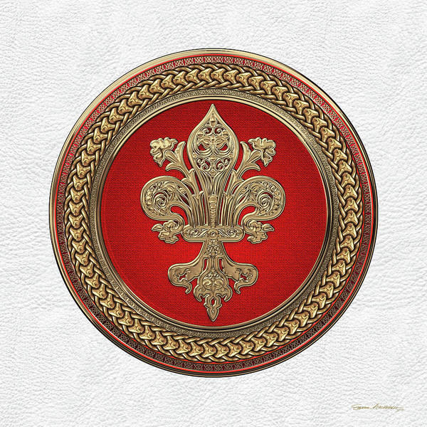 Digital Art - Gold Filigree Fleur-de-lis On Gold And Red Medallion Over White Leather by Serge Averbukh