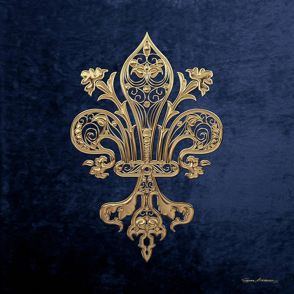 Digital Art - Gold Filigree Fleur-de-lis Over Blue Velvet by Serge Averbukh