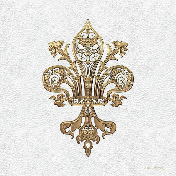 Digital Art - Gold Filigree Fleur-de-lis Over White Leather by Serge Averbukh
