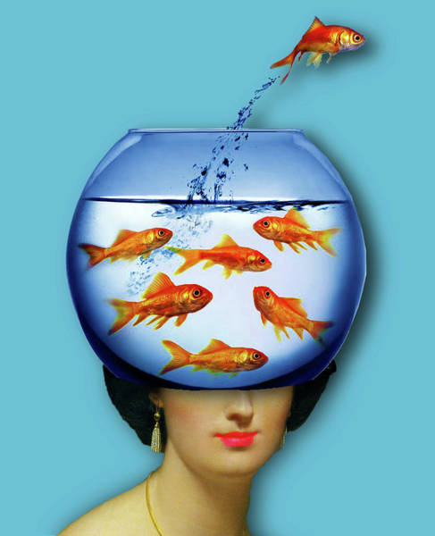 Painting - Gold Fish Bowl Woman Surreal by Tony Rubino