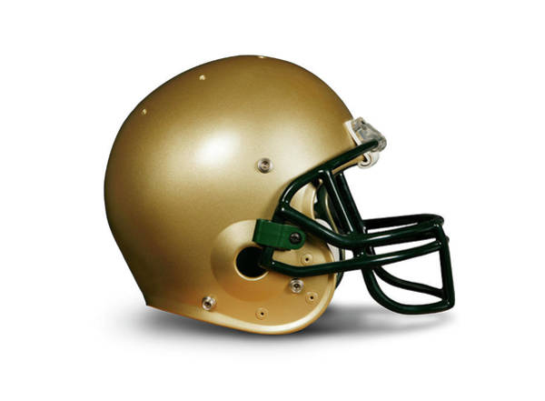 Football Helmet Photograph - Gold Football Helmet Against White by Guy Crittenden