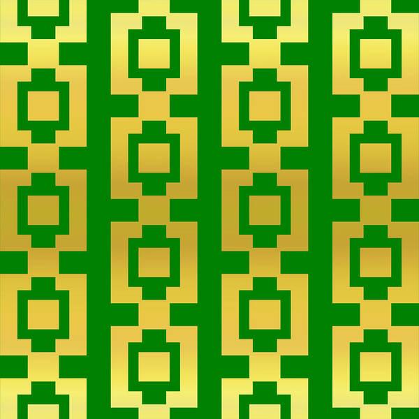 New Trend Digital Art - Gold Green Pattern by Jamie Kelly